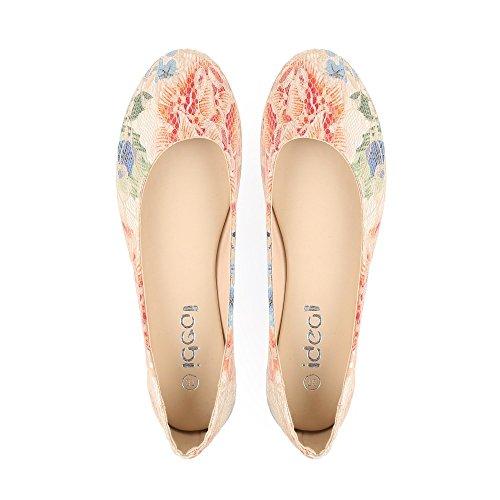 Ideal Shoes Ballerinas Fleuris mit Spitze Reina Beige