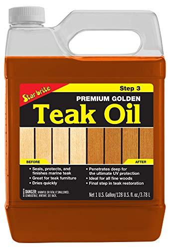 Star brite Premium Golden Teak Oil - Sealer, Preserver, & Finish for Outdoor Teak & Other Fine Woods (Golden Premium Brite Teak Oil Star)