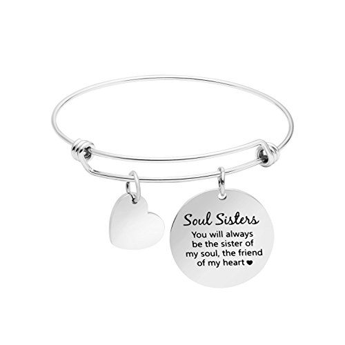 Soul Sister Bracelet Best Friend Jewelry Gift for Sister in Law Inspirational Bangle