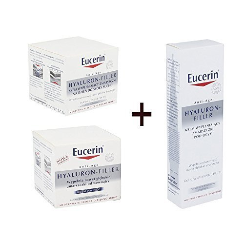 Eucerin Hyaluron Filler SET Night Cream 50ml + Day Cream 50ml + Eye Cream 15ml by Eucerin