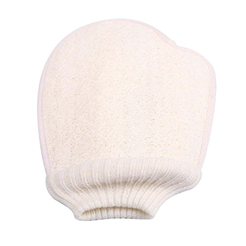 Bath Gloves Double-side Body Brush Loofah Bath Brush Sponge Bath Supplies White by Panda Superstore