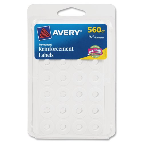 Avery Self-Adhesive Reinforcement Labels, 0.25 Inches, Round, White, Pack of 544 (6002)