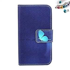 WQQ Modelo azul de la mariposa de la PU cuero caso de cuerpo completo con ranura para tarjetas y soporte para el iPhone 4 / 4s