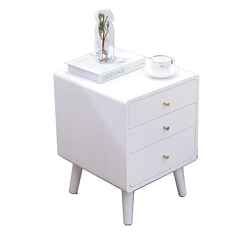 Folding table Nan Mesita de Noche Blanca con 3 cajones ...