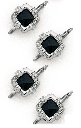 14K White Gold Diamond & Onyx Shirt Stud Set-86351