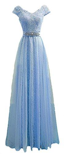 Buy light blue a line prom dress - 6