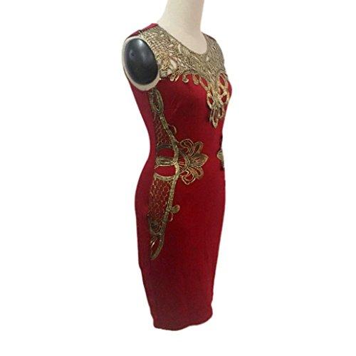 de Robe robe crayon manches Slim Rouge Femmes Amlaiworld sans Soire cocktail Bodycon de Mini Sexy HOT dentelle pg74q