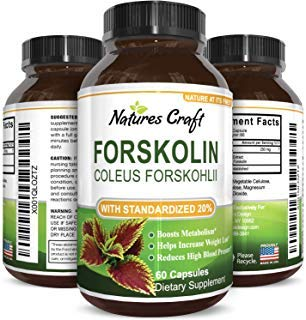 Natures Craft Pure Forskolin Extract - Fat Burning Metabolism Boosting Weight Loss Supplement - Natural Pills for Women Men 60 Capsules