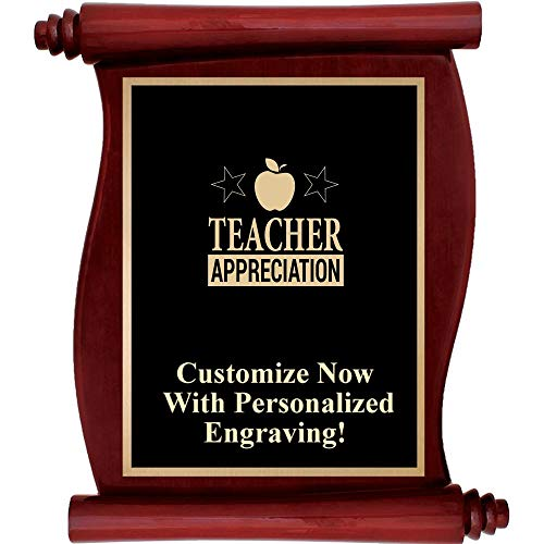 Custom Engraved Rosewood Scroll Plaques, Personalized Teacher Appreciation Plaque Gift with Up to 5 Lines of Engraving Included Prime