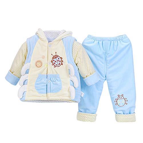 Cappuccio Gilet Con Set Pantaloni Di Vestiti 3 Neonato Invernale Pezzi 2 Top Per Blu E Bozevon dY8wqF0BHq