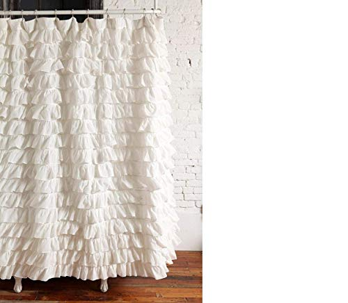 Waterfall Ruffled Fabric Shower Curtain - Shower Ruffle Curtain