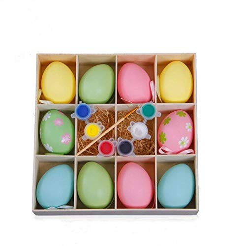 DIY Eggs with Brush and Pigment for Theme Party Favor,Classroom Prize Supplies 1 Paintbrushes and Drawing Plate for Kids ()