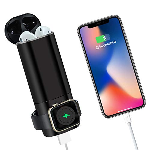 Portable Wireless Charger Replacement Compatible with Airpod 2/1 iWatch 4 3 2 1 Ruishion 3 in 1 Power Bank 5300 mAh Pocket-Sized USB Charger Compatible with Apple iPhone 11, XR, XS, 10iPad -Bla