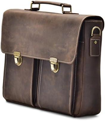 Sharo Leather Bags Computer Messenger Bag Dark Brown