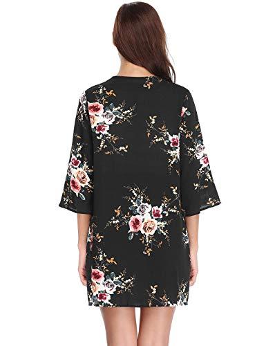 Shawl Mujer Chiffon Bohemio Negro Floral Loose Chaqueta Outwear Aibrou Tops de Impreso fluida Up Chaqueta Kimono 4 punto Cover Manga Blusa 3 anAxfU