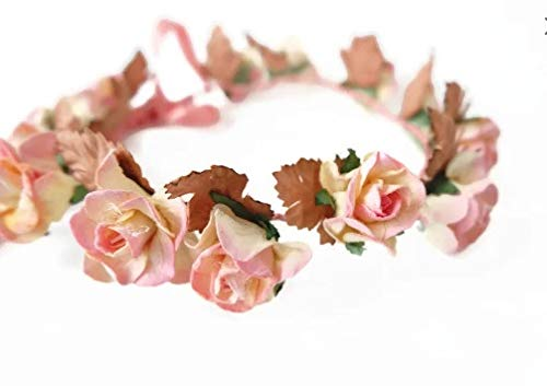 (N.1) Pink Paper Flower Crown - Made of Mulberry Paper Flowers and Natural Twine Scrap Booking Wedding