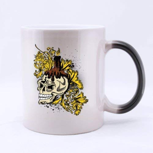 Classic Fashion Golden Pattern Halloween Skull (Twin Side) Magic Surprise Mug Changing Black And White Morphing Mug (11 Oz)