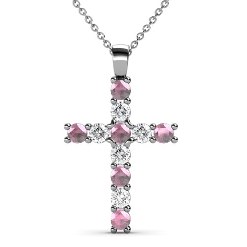 Pink Tourmaline and Diamond (SI2-I1, G-H) Cross Pendant 0.81 cttw in 14K White Gold with 14K Gold Chain by TriJewels