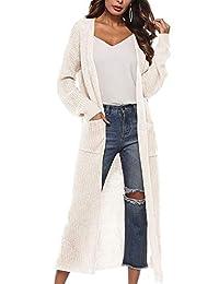 WISREMT Women's Long Sleeve Irregular Split Cardigan Open Front Sweater Pocket