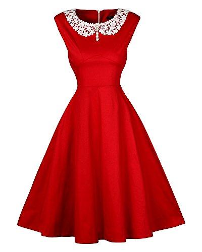 Mujeres Swing Vestidos Sin Manga Corte Elegante Vintage Vestido Rojo