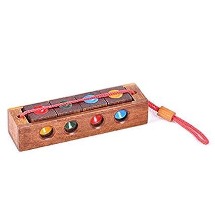 SODIAL Burr Rompecabezas de Color de madera Ajedrez loco Cuatro llavero Juguete de rompecabezas