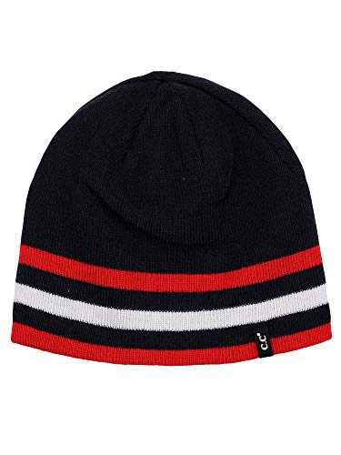 (C.C Men's Plain Striped Skull Cap Winter Knit Short Reversible Beanie Hat, Navy/Red)