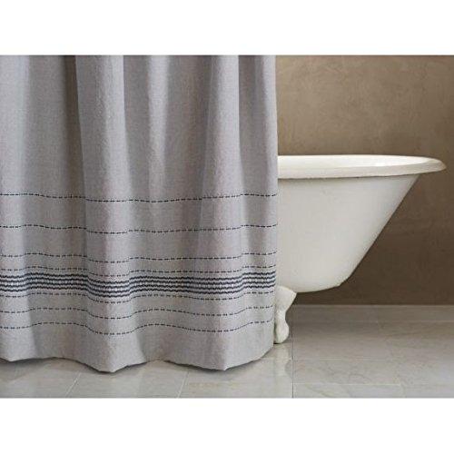 Coyuchi Organic Rippled Stripe Shower Curtain - Gray Chambray w/Sapphire