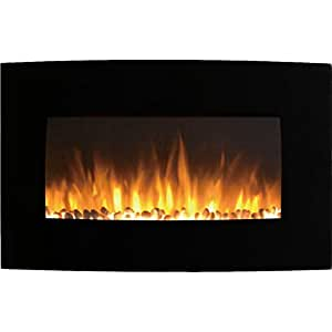 Gibson Living Soho 35 Inch Curved Pebble Wall Mounted Electric Fireplace