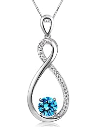 925 Sterling Silver Pendant Necklace Swiss Blue Gemstone...