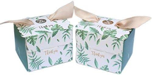AmaJOY - Caja de recuerdos con lazo, 50 unidades, diseño de hojas de palmera, elegante caja de dulces para boda, fiesta, regalo, baby shower: Amazon.es: Hogar