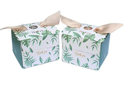 (AmaJOY 50pcs Wedding Favor Box with Palm Leaf Pattern Elegant Candy Box for Party Favor Baby Shower)
