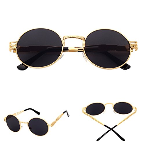 Niceskin Retro Round Mirror Sunglasses Shades for Women Men Outdoor, Resin +Metal - For Men Shades