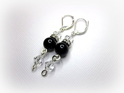 Black Onyx and Crystal Earrings (Onyx Eyes Pin)