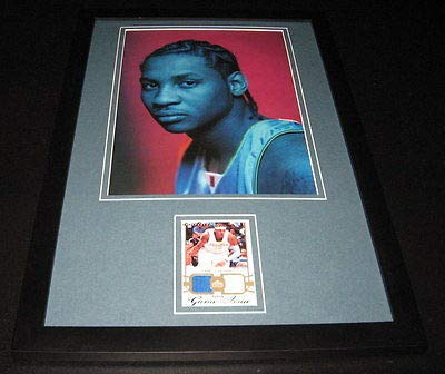 Carmelo Anthony Framed 12x18 Game Used Memorabilia & Photo Display UDA Knicks