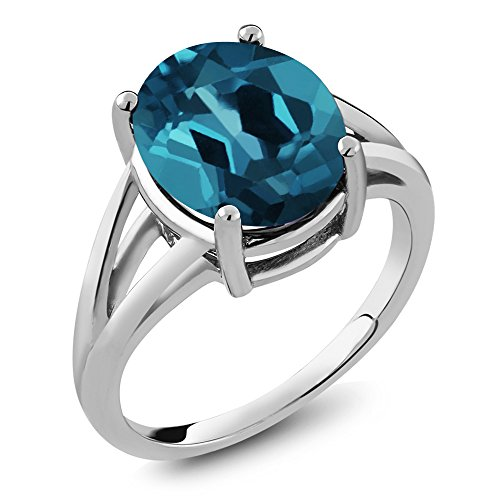 Blue Topaz 925 Sterling Silver Women's Solitaire Ring (Available in size 5, 6, 7, 8, 9) (London Blue Topaz Solitaire Ring)