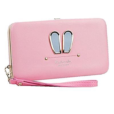 Soft Leather Wristlet Clutch Wallet Cute Business Phone Case Money Clip Travel Card Holders Women`s Long Wallet Purse