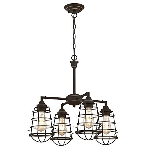 - Westinghouse Lighting 6367000 Nolan Four-Light Indoor Chandelier/Semi Flush Mount Ceiling Light, Oil Rubbed Bronze Finish with Cage Shades