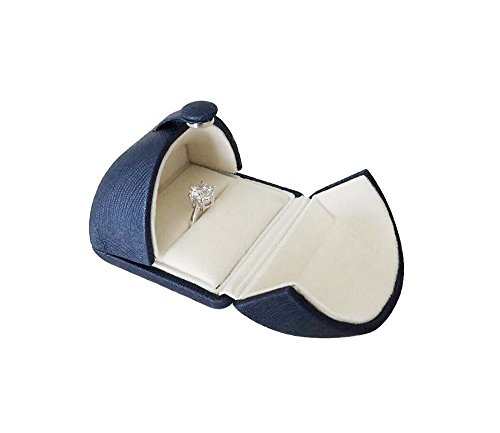 Presentation Box Leather - Elegant Blue PU Leather Ring Box Case for Engagement Wedding Birthday Anniversary Valentine's Day Present Gift Luxurious Jewelry Case Storage Display Packaging Shows (Ring)