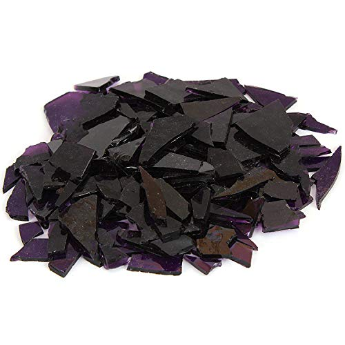 (Milltown Merchants™ Violet Stained Glass Pieces 1 lb - Purple Transparent Stained Glass Cobbles - Broken Glass Chips for Stepping Stones and Crafts - Bright Color Glass Coblets)