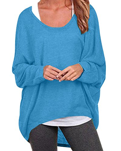 ZANZEA Women's Long Batwing Sleeve Loose Oversize Pullover Sweater Top Blouse Blue US 10/Tag Size L