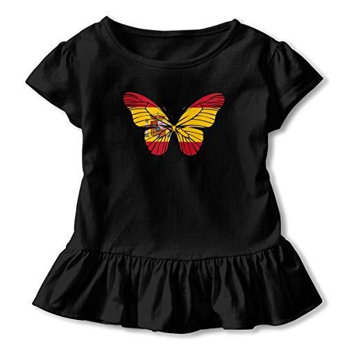 SHIRT1-KIDS Spanish Flag Fly Toddler/Infant Girls Short Sleeve T-Shirt Ruffles Shirt Tee Jersey for 2-6T Black (Clothing Spanish Fly)