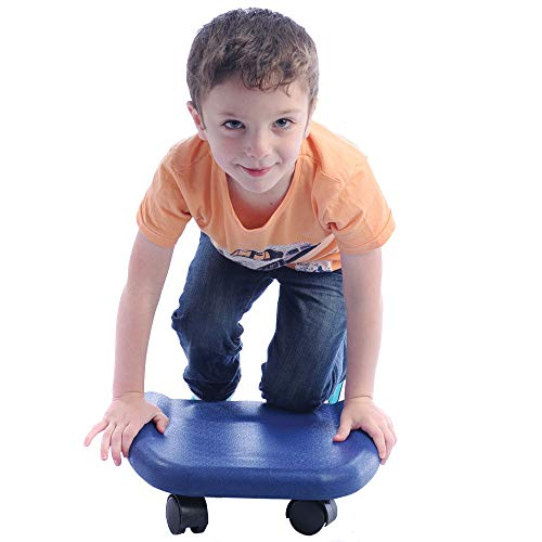 Fun and Function Soft Blue Kneeling and Tummy Scooter - Durable Soft Scooter Supports Weight of 150 Pounds for Ages 3+