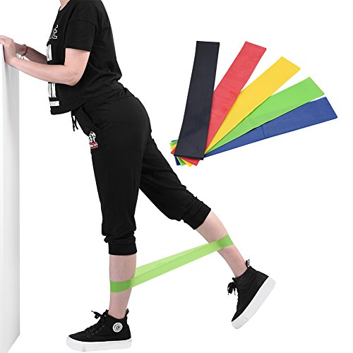 Dilwe 5pcs Resistance Exercise Bands, Unisex Multi Colors Latex Fitness Workout Yoga Loops for Stretching YogaLegs Training Physical Therapy by Dilwe (Image #3)
