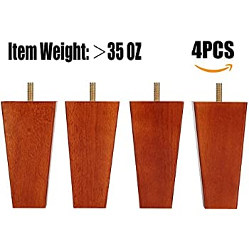 Sofa Legs Set Of 4,Tapered 5 Inch Solid Wood Furniture Sofa/Chair/