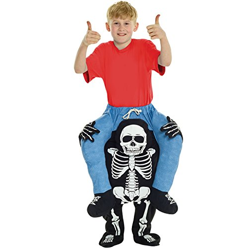 Kids Piggyback Skeleton Costume Ride On Childs Illusion Carry Me Fancy Dress Up ()