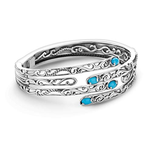 (Carolyn Pollack SterlingSilver Sleeping Beauty Turquoise Hinged Cuff Bracelet -)