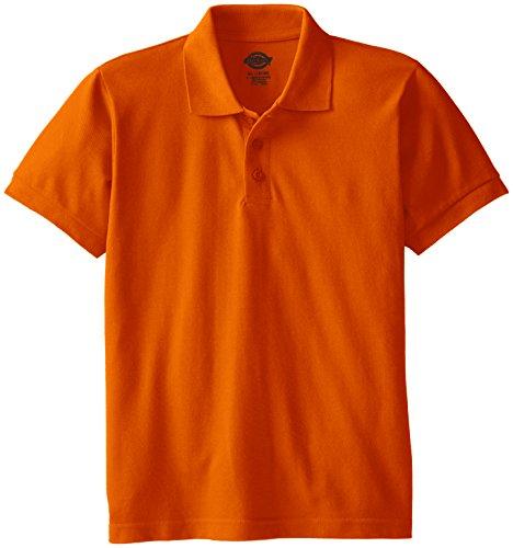 Dickies Big Boys' Short Sleeve Pique Polo Shirt, Orange, X-Large