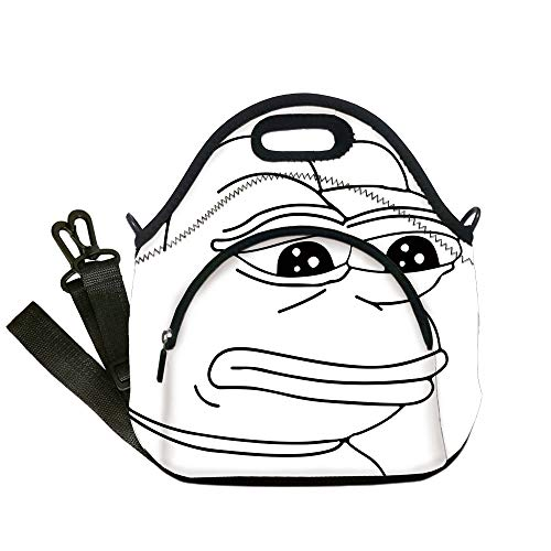 Insulated Lunch Bag,Neoprene Lunch Tote Bags,Humor Decor,Melancholic Frog Meme Cartoon Face Almost Crying Emotion Expression Design,Black White,for Adults and children -