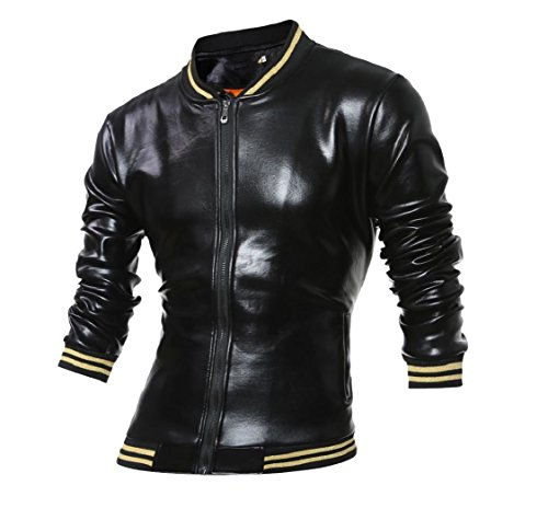 aicessess Casual Shiny Vogue Band Collar Black Coat Students up Jacket Mens Zip qSwqC5Bx