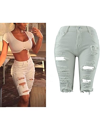 d't Jeans Jeans Jeans Skinny Haute Zip Trous Jeans Hipster Jeans avec Pantalons Blanc Skinny Taille FuweiEncore Jeans xqR4ApYEw